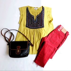 Anthropologie Yellow Aztec Top